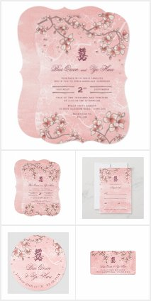 PEACH BLOSSOMS | ASIAN CHINESE WEDDING INVITATION