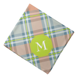peach blue and lime plaid with monogram bandana