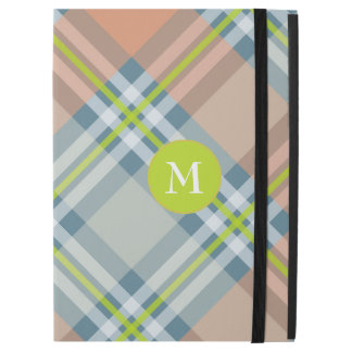 "peach blue and lime plaid with monogram iPad pro 12.9"" case"