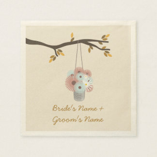 Peach + Blue Flowers Fall Wedding Napkins Disposable Napkin