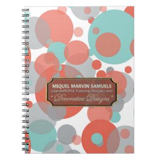 Peach Blue Grey Bubbles Modern Notebook