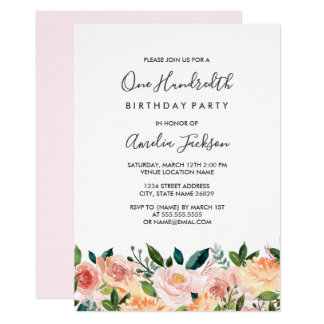 Peach Blush Watercolor Floral 100th Birthday Party Card