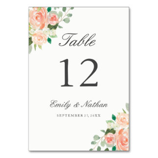 Peach Blush Watercolor Floral Table Number Cards