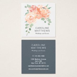 Peach Bouquet Watercolor Floral Square Business Card