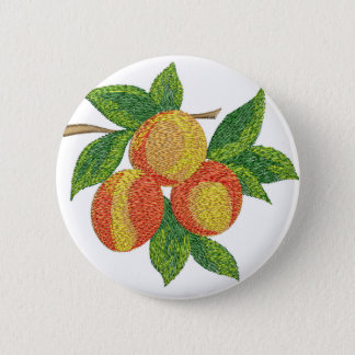 peach branch, imitation of embroidery 2 inch round button