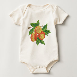peach branch, imitation of embroidery baby bodysuit