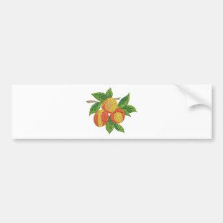 peach branch, imitation of embroidery bumper sticker
