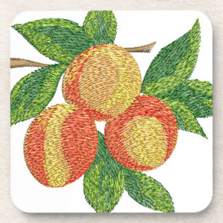 peach branch, imitation of embroidery coaster