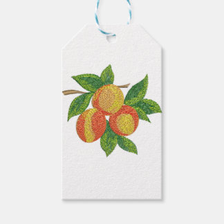 peach branch, imitation of embroidery gift tags