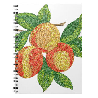 peach branch, imitation of embroidery spiral notebook
