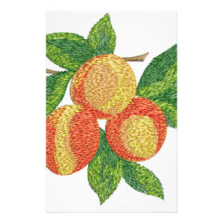 peach branch, imitation of embroidery stationery