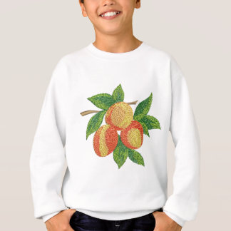 peach branch, imitation of embroidery sweatshirt