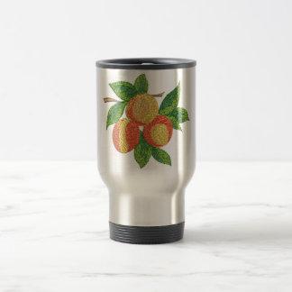 peach branch, imitation of embroidery travel mug