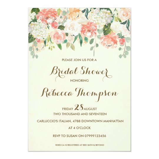 peach bridal shower invitation elegant modern