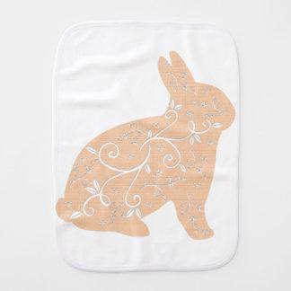 Peach Bunny Burp Cloth