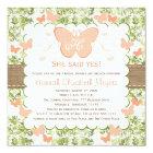 Peach Burlap Butterfly Bridal Shower Invitations