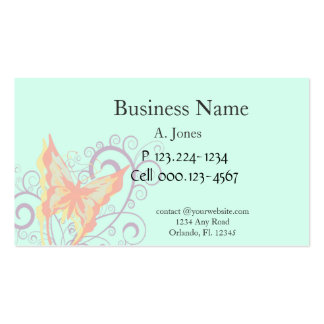 Peach Butterfly and Purple Swirls Business Card