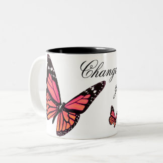 Peach Butterfly Coffee Mug