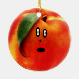 Peach Cartoon Face Ceramic Ornament