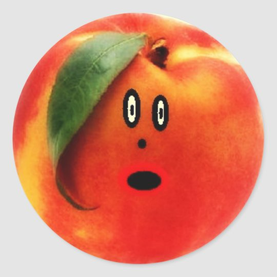 Peach Cartoon Face Classic Round Sticker