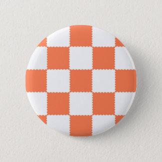 Peach Checkerboard 2 Inch Round Button