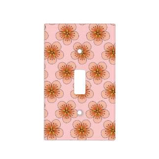 Peach Cherry Blossoms Light Switch Plate