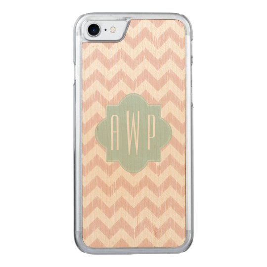 Peach Chevron Ikat Monogram Carved iPhone 8/7 Case