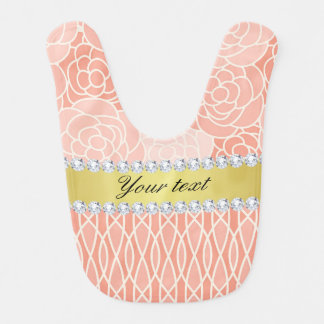 Peach Chrysanthemums Geometric Gold and Diamonds Bib