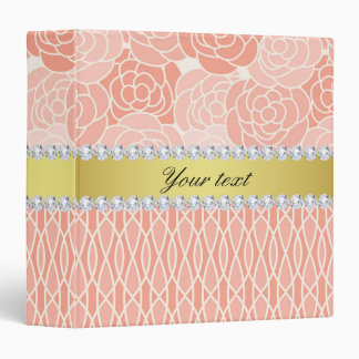 Peach Chrysanthemums Geometric Gold and Diamonds Binders