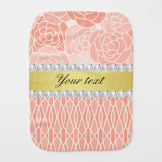 Peach Chrysanthemums Geometric Gold and Diamonds Burp Cloth