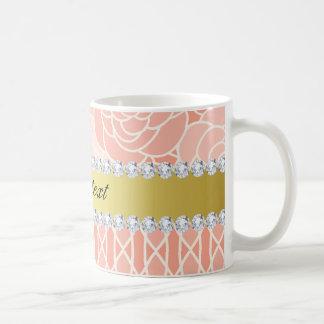 Peach Chrysanthemums Geometric Gold and Diamonds Coffee Mug
