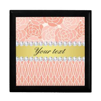 Peach Chrysanthemums Geometric Gold and Diamonds Gift Box