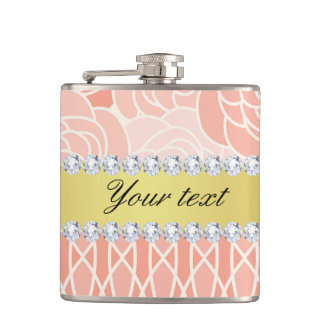 Peach Chrysanthemums Geometric Gold and Diamonds Hip Flask