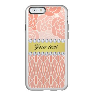 Peach Chrysanthemums Geometric Gold and Diamonds Incipio Feather® Shine iPhone 6 Case