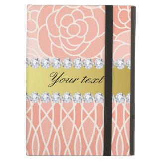 Peach Chrysanthemums Geometric Gold and Diamonds iPad Air Cover