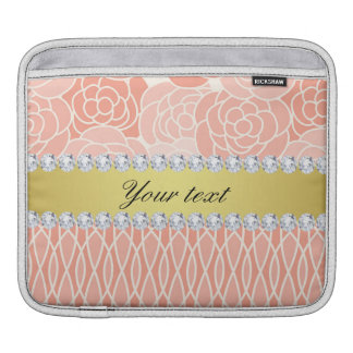 Peach Chrysanthemums Geometric Gold and Diamonds iPad Sleeves