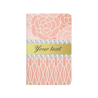 Peach Chrysanthemums Geometric Gold and Diamonds Journal