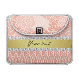 Peach Chrysanthemums Geometric Gold and Diamonds MacBook Pro Sleeve