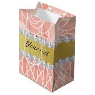 Peach Chrysanthemums Geometric Gold and Diamonds Medium Gift Bag