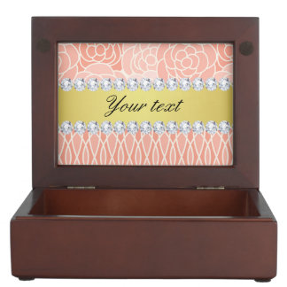 Peach Chrysanthemums Geometric Gold and Diamonds Memory Box