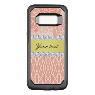 Peach Chrysanthemums Geometric Gold and Diamonds OtterBox Commuter Samsung Galaxy S8 Case
