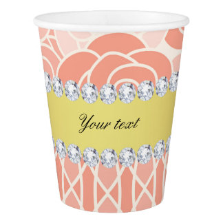 Peach Chrysanthemums Geometric Gold and Diamonds Paper Cup