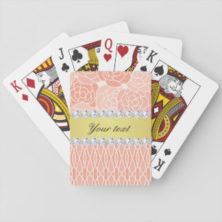 Peach Chrysanthemums Geometric Gold and Diamonds Playing Cards