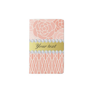 Peach Chrysanthemums Geometric Gold and Diamonds Pocket Moleskine Notebook