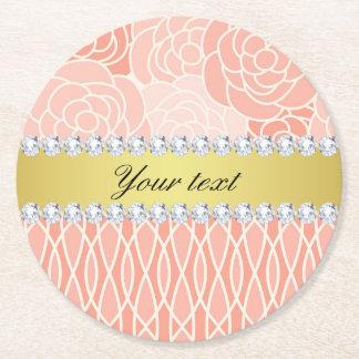 Peach Chrysanthemums Geometric Gold and Diamonds Round Paper Coaster