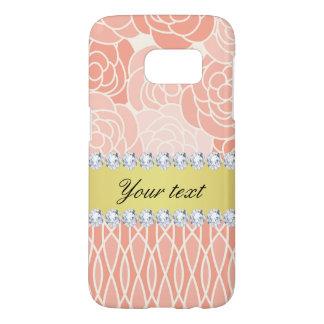 Peach Chrysanthemums Geometric Gold and Diamonds Samsung Galaxy S7 Case