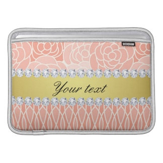 Peach Chrysanthemums Geometric Gold and Diamonds Sleeve For MacBook Air