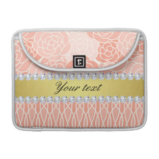 Peach Chrysanthemums Geometric Gold and Diamonds Sleeve For MacBook Pro