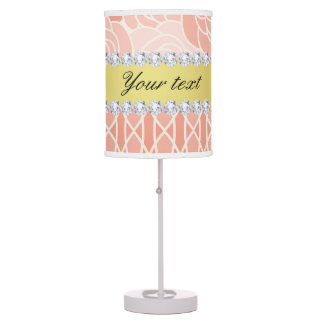 Peach Chrysanthemums Geometric Gold and Diamonds Table Lamp
