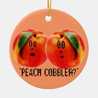 Peach Cobbler Scare Ceramic Ornament